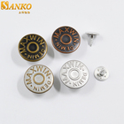 Denim jacket studs buttons supplier custom embossed logo alloy metal jeans button