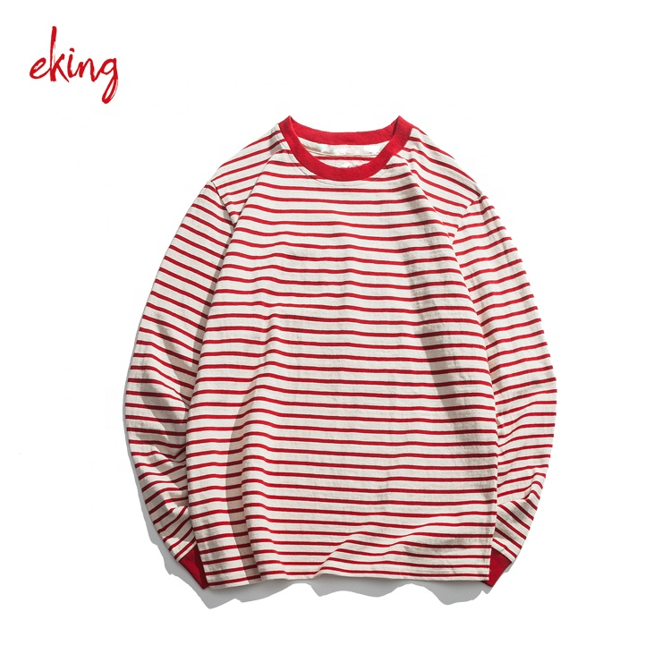 Design your own oversize mercerized cotton long sleeve striped t shirt