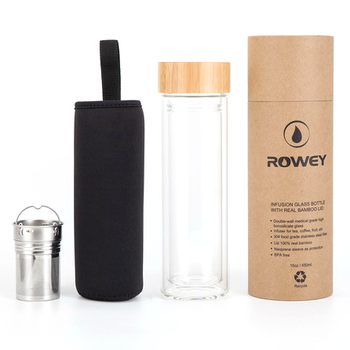 500ml High Borosilicate Glass Bamboo Lid Stainless Steel Tea Infuser Bottle, Double Wall Glass Tea Coffee Tumbler