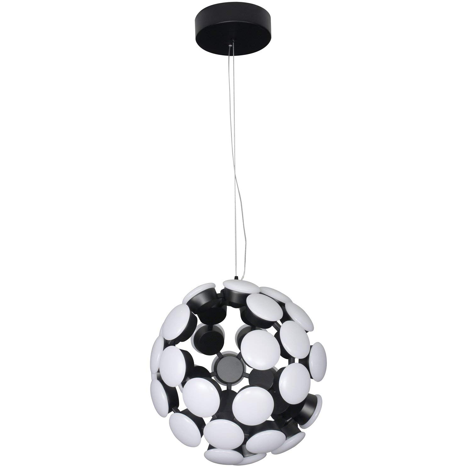 "VONN VMC32610BL Modern 16"" Celestial Mutli-Light Led Chandelier, Adjustable Hanging Light, Modern Globe Chandelier Lighting, Kastra Collection, 15.55"" x 15.55"" x 134.25"", Black"