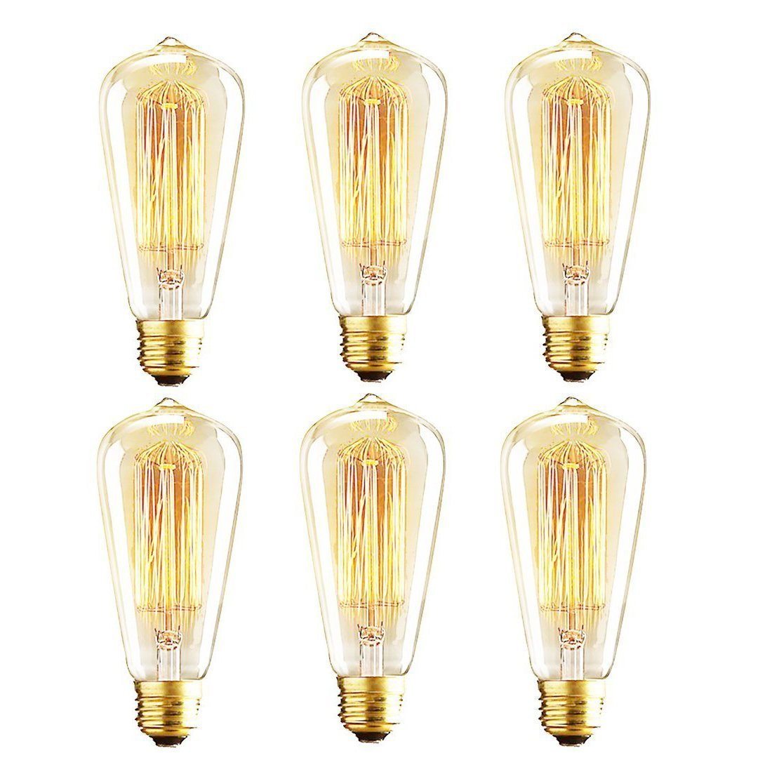 Vintage Edison Bulbs, 40W ST64 Dimmable Light Bulbs, Squirrel Cage Filament with 2700K Soft Warm White Light, 230 Lumens, Retro Light Bulbs with E26 Brass Base, Pack of 6
