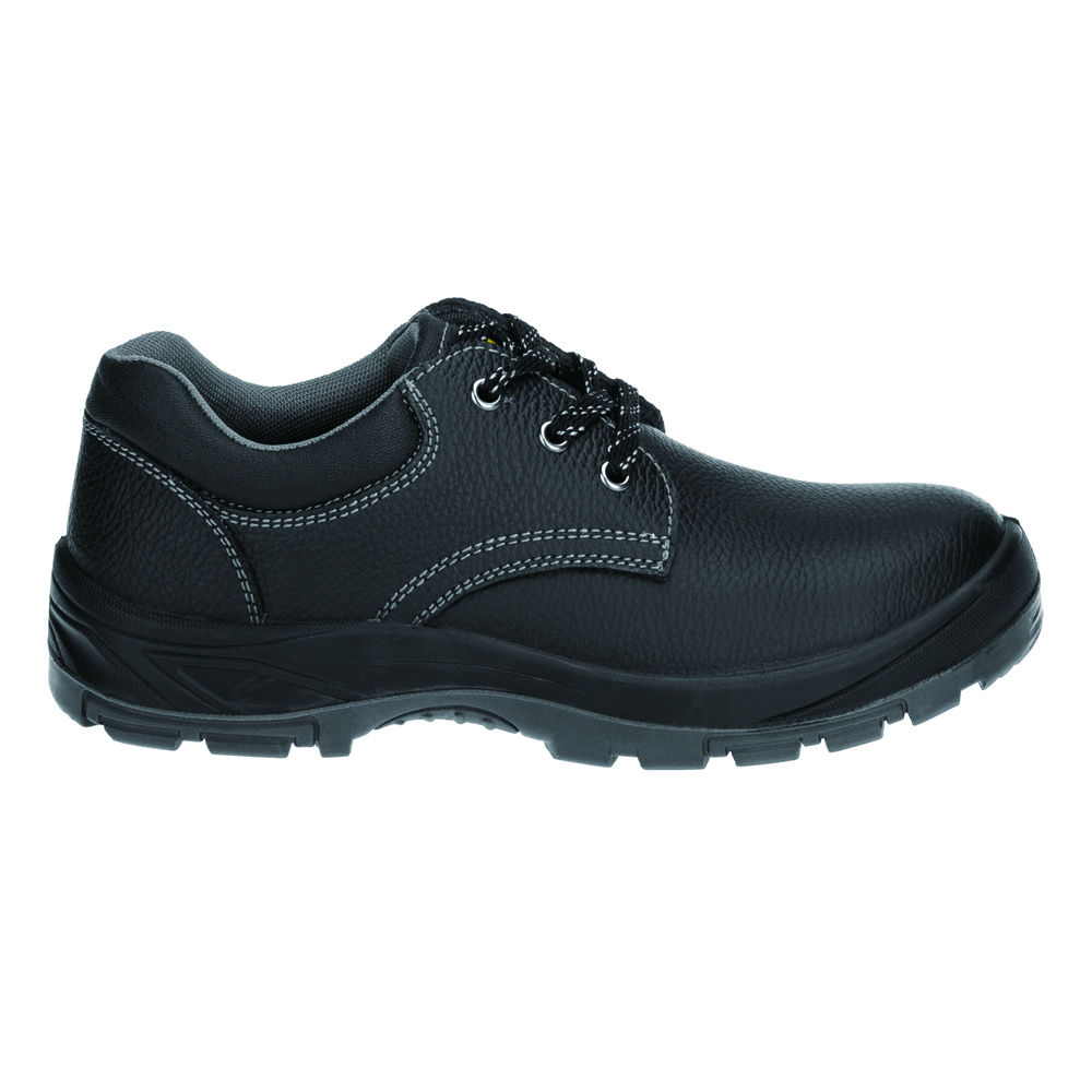 high quality genuine leather upper dual density PU outsole black work shoes