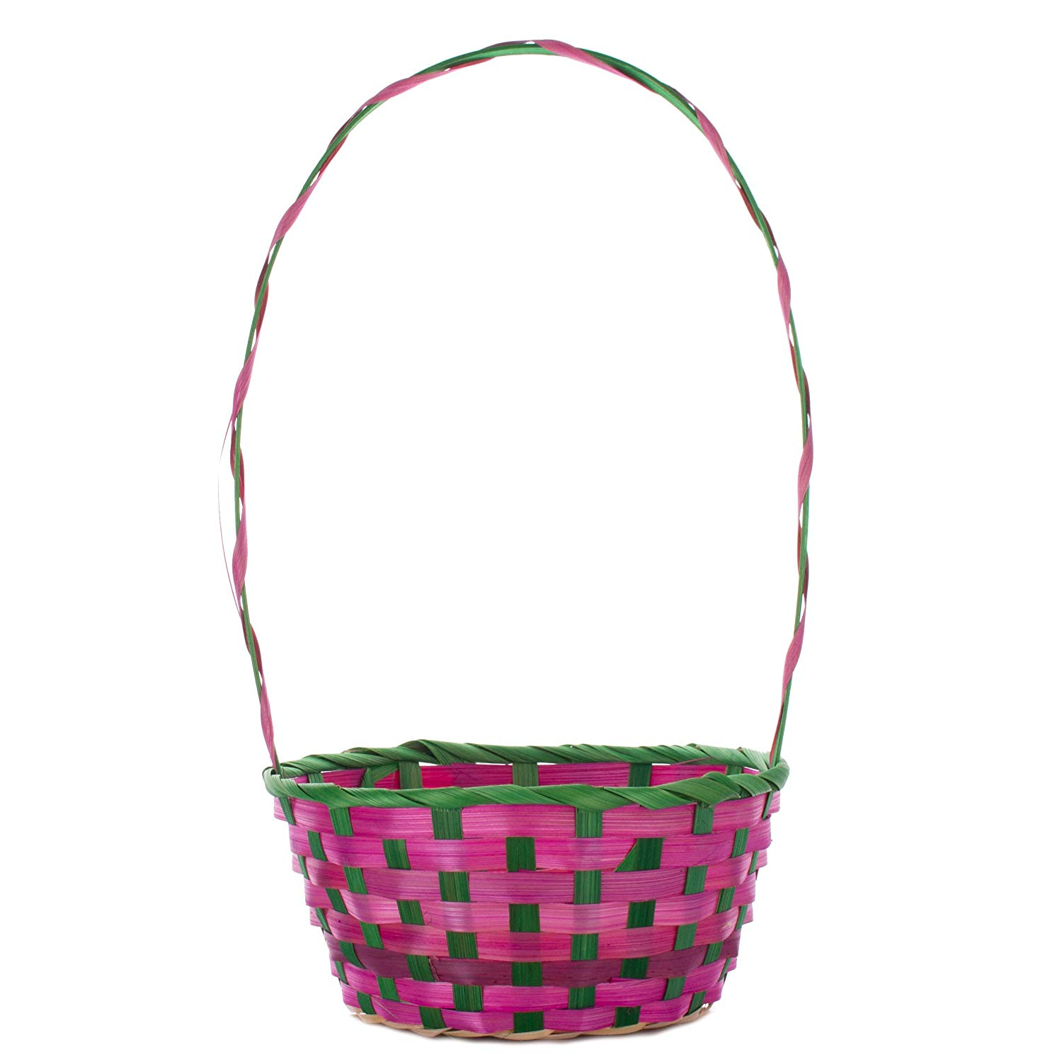 """Veil Entertainment 14"""" Pastel Colored Bamboo Weave Round Gift Easter Basket w Handle, Pink Green"""
