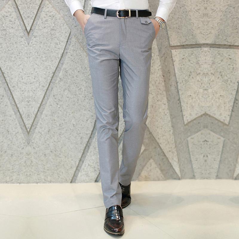 b5a16ee81d45 2019 Wholesale 2017 Men Trousers Boy Slim Fit Pants Business Formal Clothes  Casual Slack Suits Pants Grey Blue 426 From Felix06