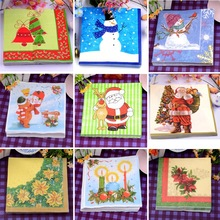 Food-grated Decoupage Christmas paper napkins Santa clause snowman tissue paper Xmas party decoration home hotel shop table deco