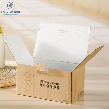 customized logo cup packaging brown corrugated foldable paper box