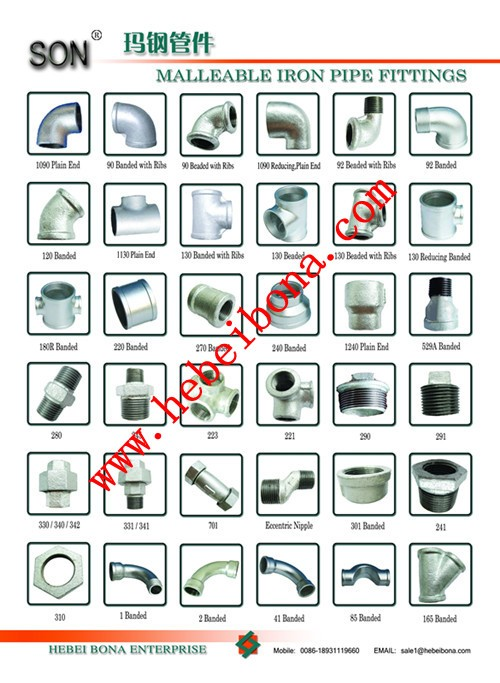 Son brand malleable iron gi pipe fitting names and parts