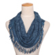 Good quality lace Hollow out denim blue infinity scarf with tassel