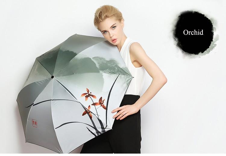 Chinese Ink Painting Orchid Fish Folding Umbrella Super Windproof Anti-UV  Rain Sun Umbrella Rain Women parasol - us31 df70d2aba4