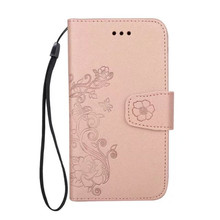 Factory price flower embossed wallet flip magnetic leather phone case with 5 card slots silk stripes phone case for iPhone X