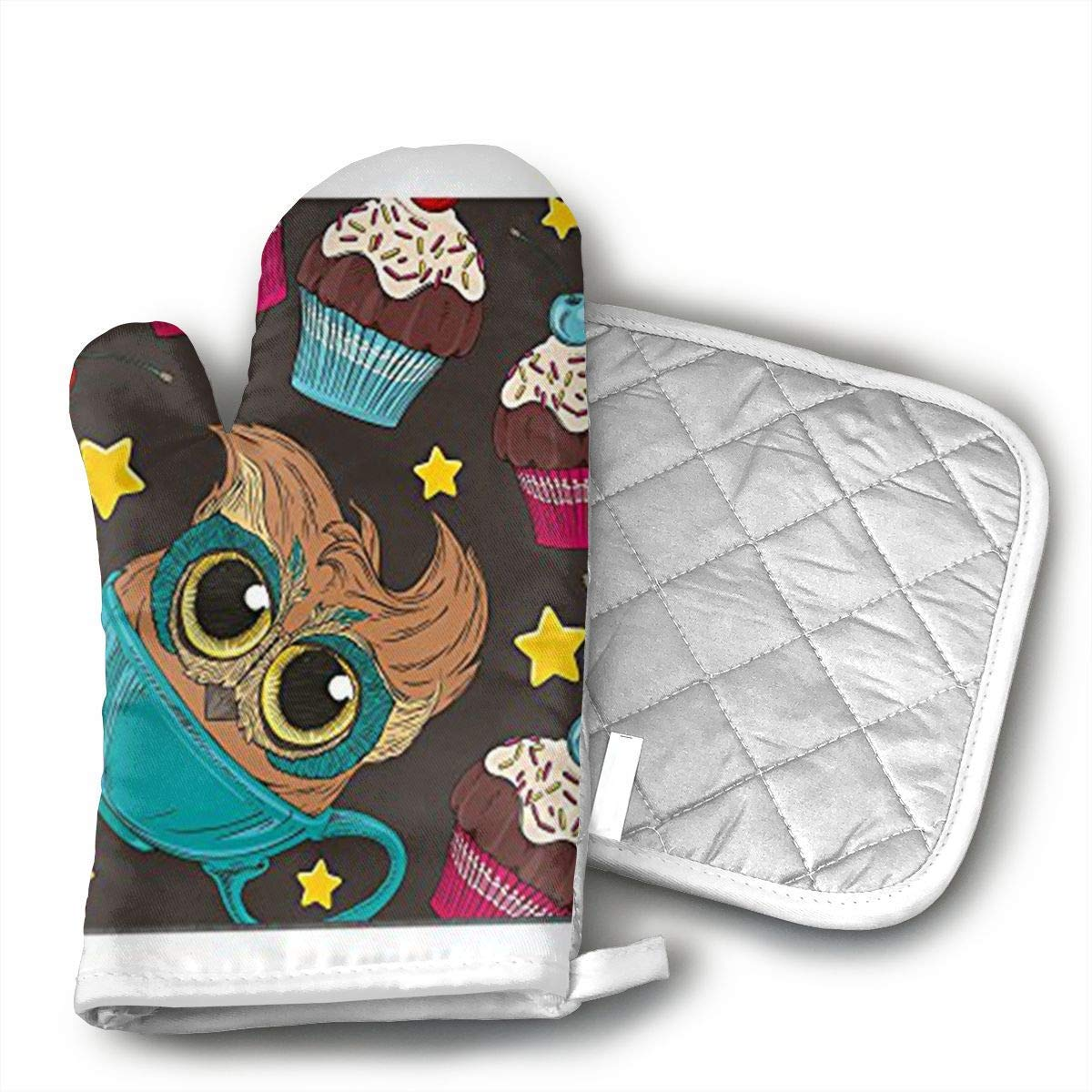 Owl and Cupcake Yourtablecloth Set of Oven Mitt and Pot Holder Or Oven Gloves-100% Cotton, High Heat Resistance, Superior Protection & Comfort¨CElegant Design