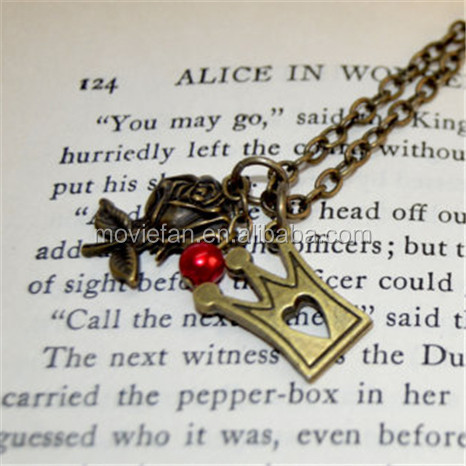 Alice in Wonderland Queen of Hearts Red Pearl, Rose and Crown Charm necklace in bronze