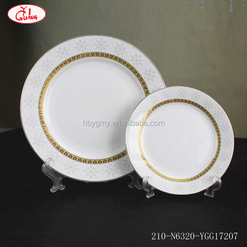 Round Shape Full Decor Corelle Dinner Set 76 Pieces With Gold Rim And White  Snowflake Pattern