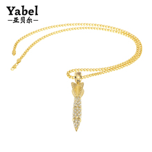 New men's alloy diamond rocket darts hip hop pendant necklace