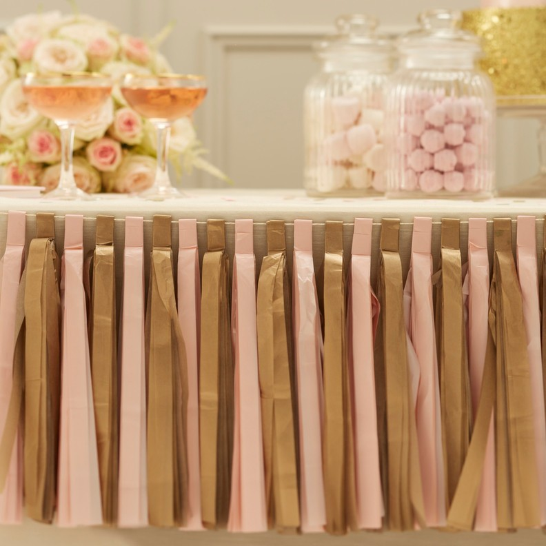 The Best Selling DIY Gold And Light Pink Tissue Paper Tassel Garland For Wedding Party Decoration