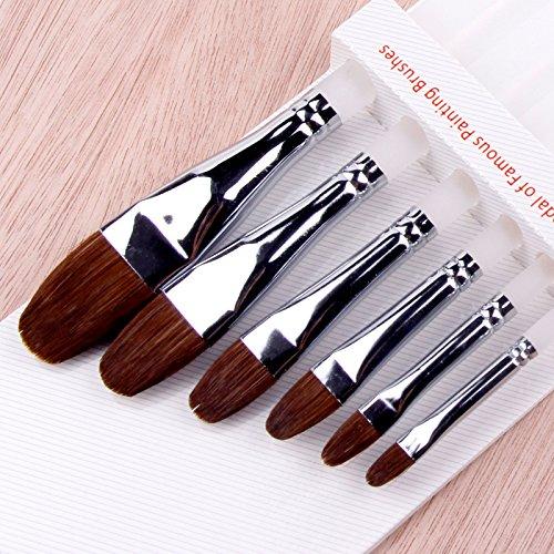 Hot 12pcs Artist Brushes Filbert Red Sable Hair Long Handle Art Painting Brushes