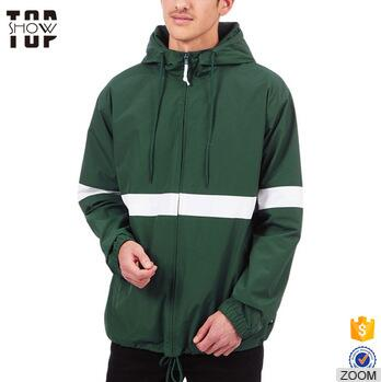 Factory wholesale mens hooded anorak jacket custom color block windbreaker jacket
