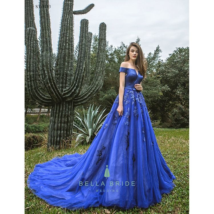 Royal Blue Wedding Dresses Bridal Party Puffy Ball Prom Evening Gown Buy Evening Gown Bridal Party Gowns Blue Prom Dress Product On Alibaba Com