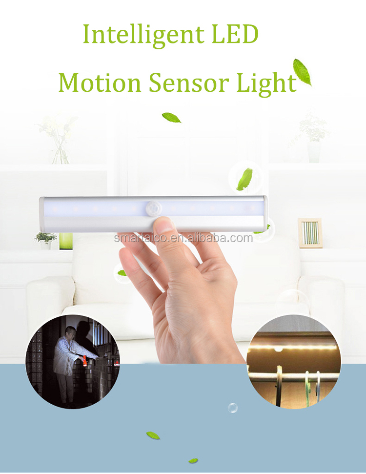 Home kitchen closet under cabinet wall wireless 10 LED motion sensor lighting