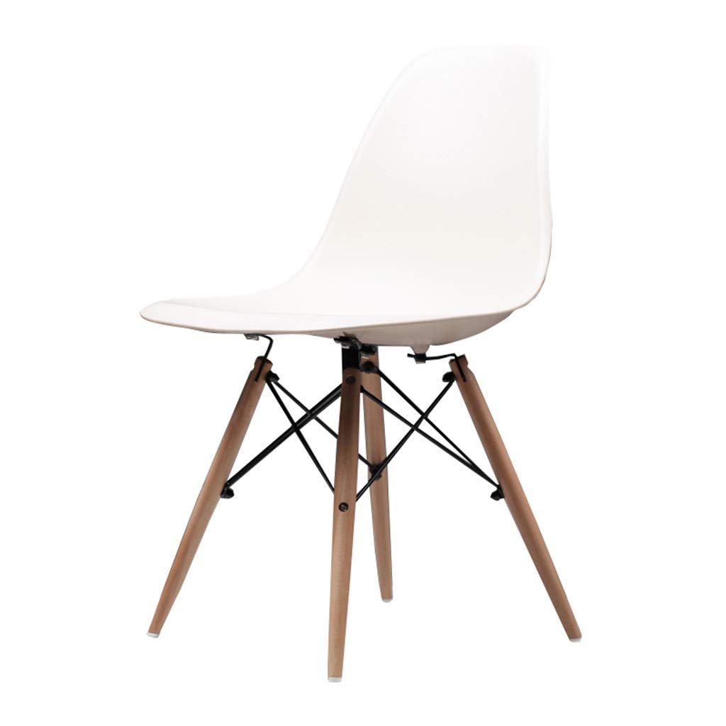 Wooden Chair Creative Office Stools Kitchen Dining Table Meeting Room Backrest Business Computer Chair Barstools Max Load 150kg,45x45x82cm,White