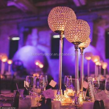 Gold Crystal Globe Votive Pillar Candle Holders Wedding Centerpieces Chandeliers Lamps 3 Piece Of One