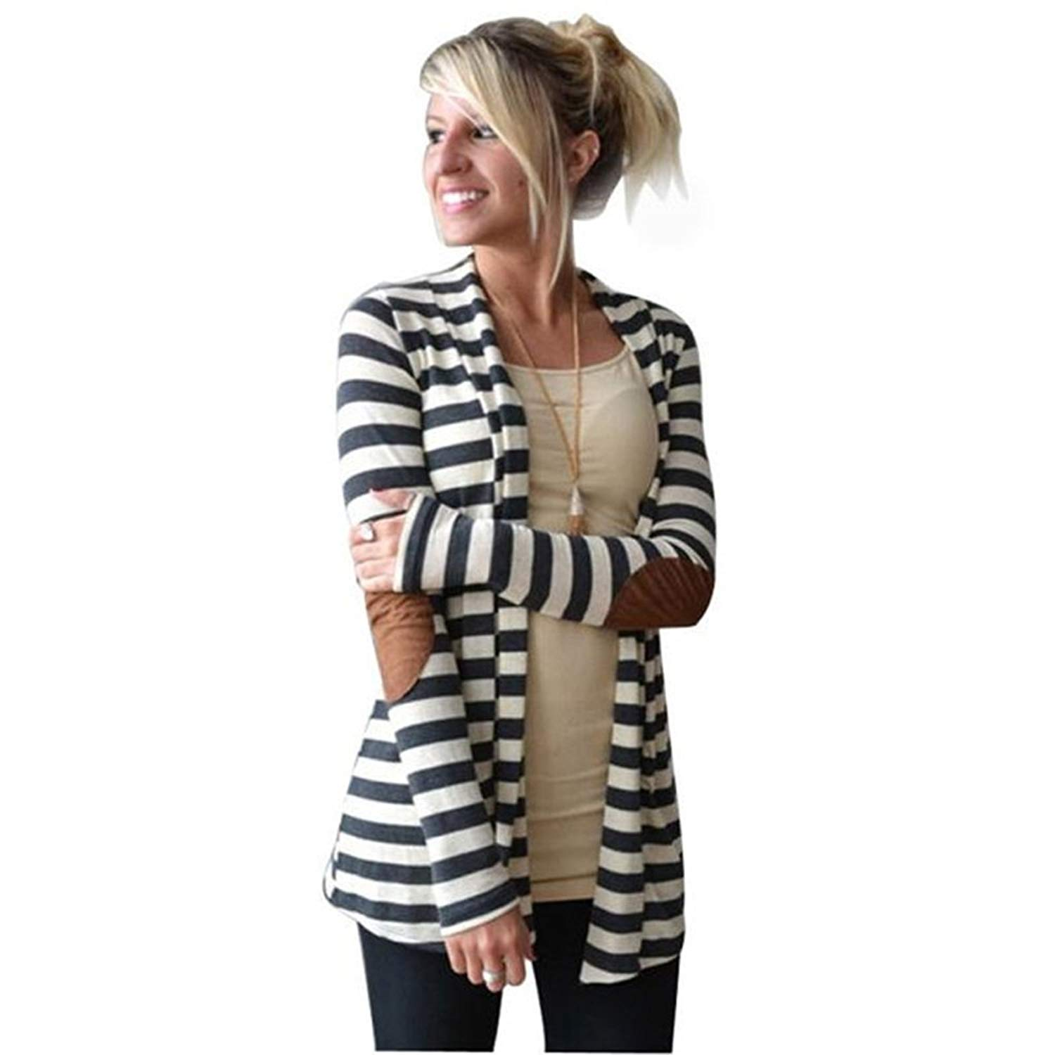 Women's Casual Long Sleeve Arm Patches Striped Cotton Blend Cardigan Jacket