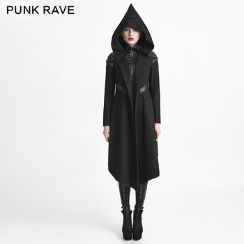Y-611 Punk Rave Gothic Style Women Long Woolen Hooded Duffle Coat ...