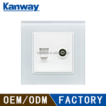 guangzhou factory best price 2 gang telephone tv socket outlet