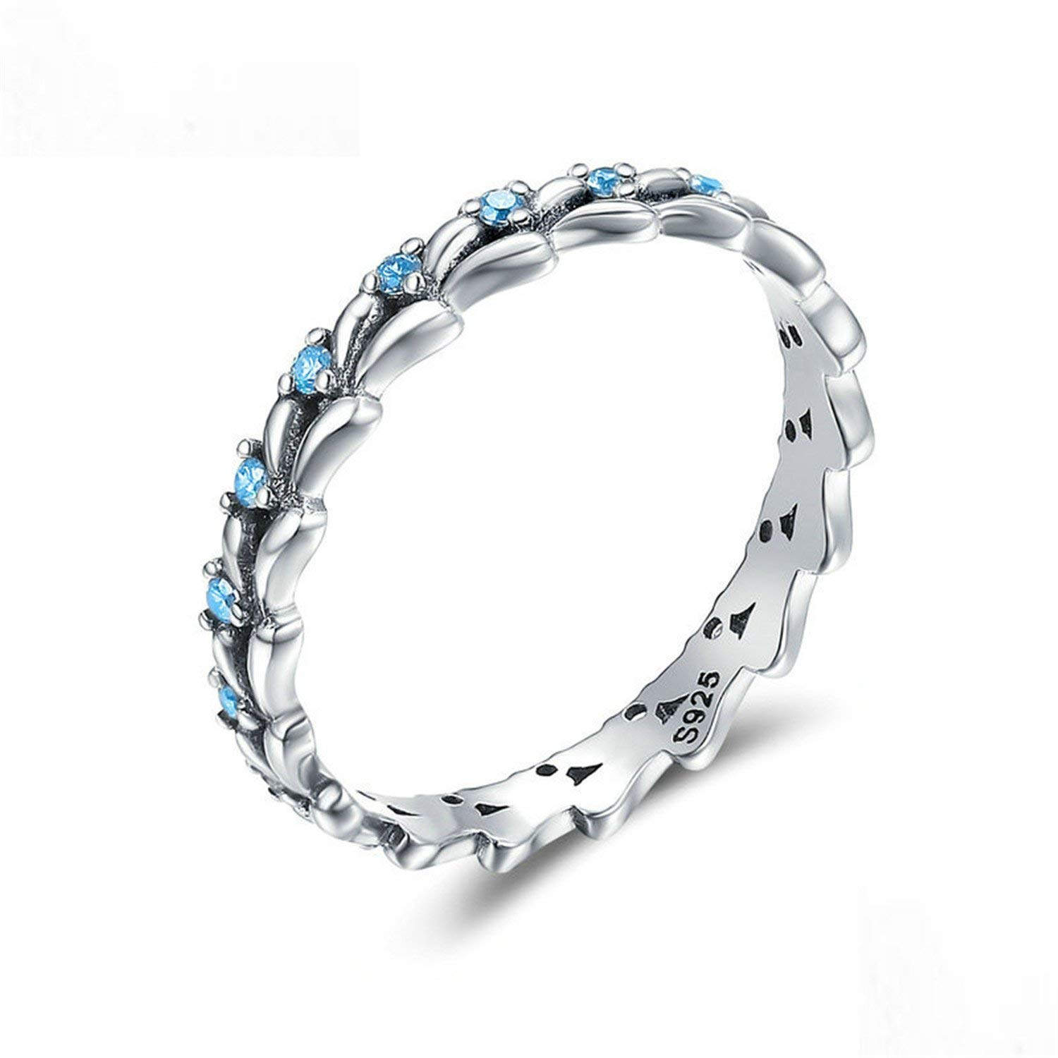 Baqijian Sterling Stackable Ring Wheat Wave Clear Finger Rings Women Sterling Jewelry Scr162