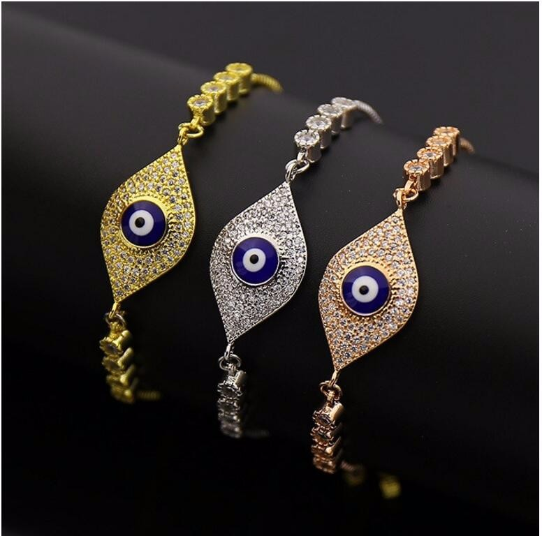 fashion 3 colors evil eyes design cz stones accessoires gift zirconia bracelet for ladies