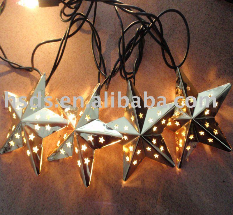 Metal Star String Light Set Outdoor Patio Lights