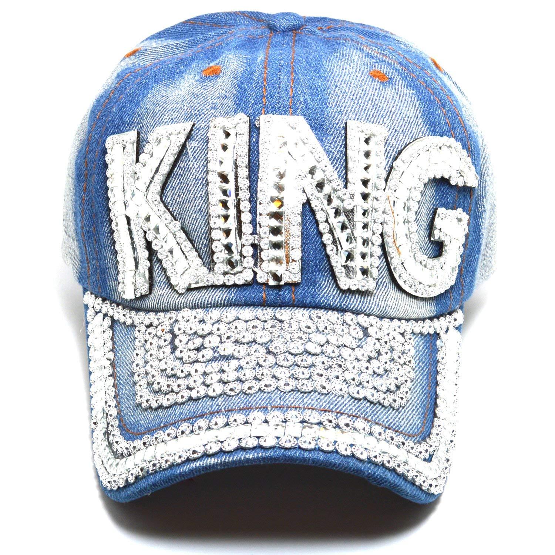 436df17b2a0d3 AblessYo Denim Hats Rhinestone Studded Sparkly Bling Baseball Cap Women  AYO1100