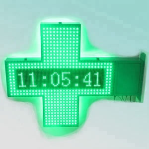 CE RoHS 105X80X10cm green double face time temperature led cross display