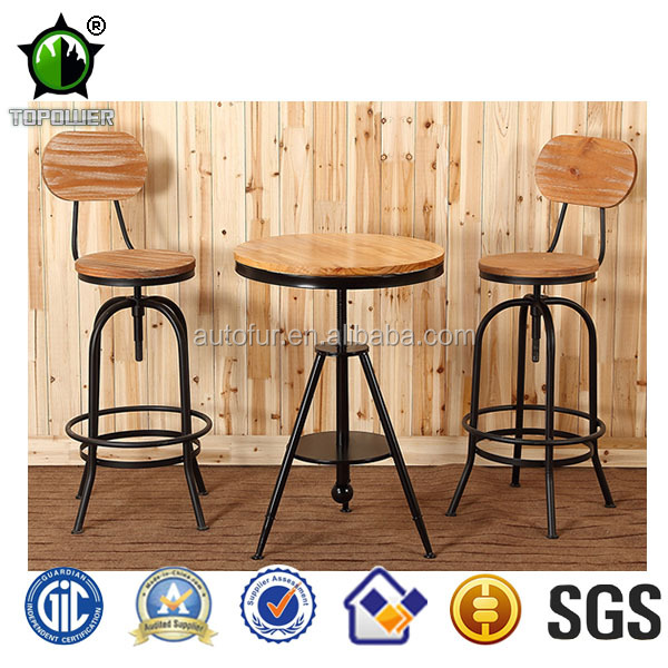 Antique Industrial Style Wooden Seat Pub Barstools