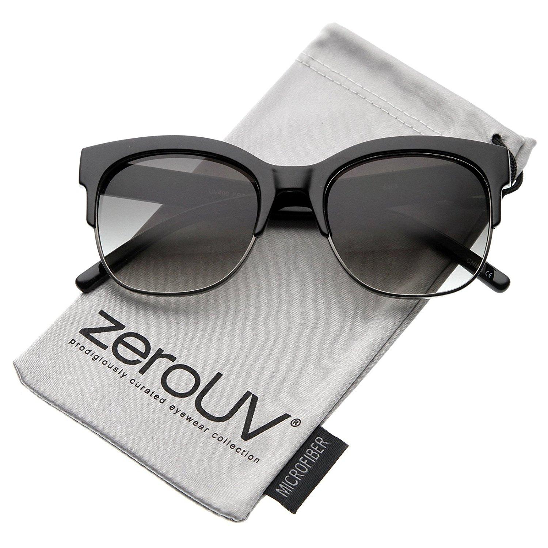 b22d275798 zeroUV - Retro Horn Rimmed Semi-Rimless Square Lens Half Frame Sunglasses  53mm