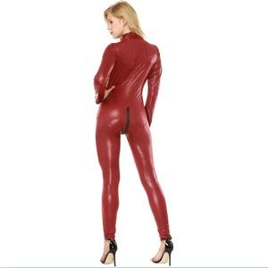 fc62c437d037 Black Faux Leather Jumpsuit