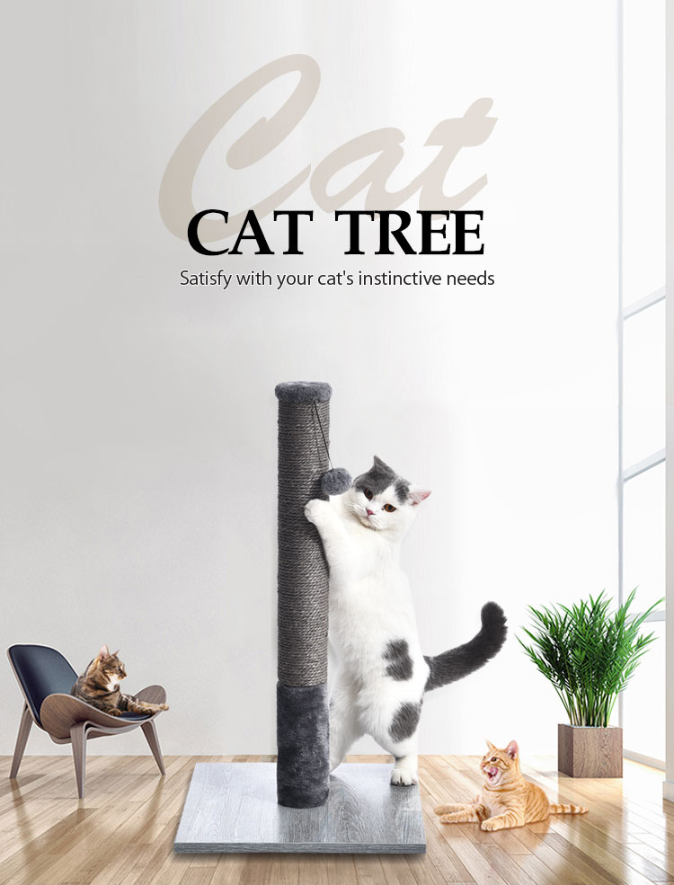 Simple Gray Easy to Use Cat Toy Scratch Tree