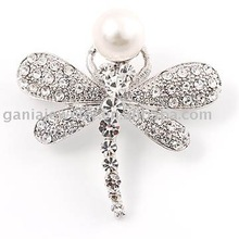 Fashion Jewelry Insect Dragonfly with One Pearl Brooch