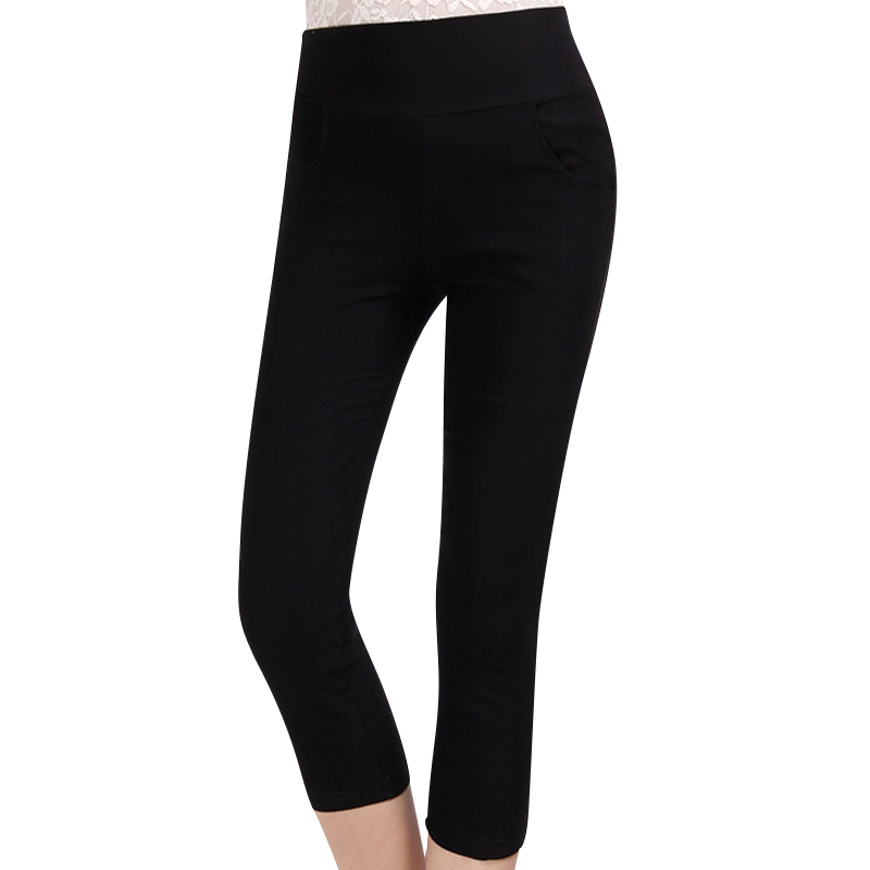 d3ce4973d2f32 Get Quotations · 2015 Summer New Women Skinny Casual Capris Pants Black    White Plus Size S-3XL