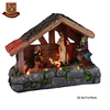 Custom made Christmas decorative resin wooden nativity village house with warm white led light