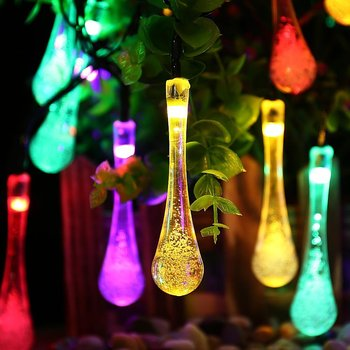 solar outdoor christmas tree light 30 led water drop string light for christmas tree decoration