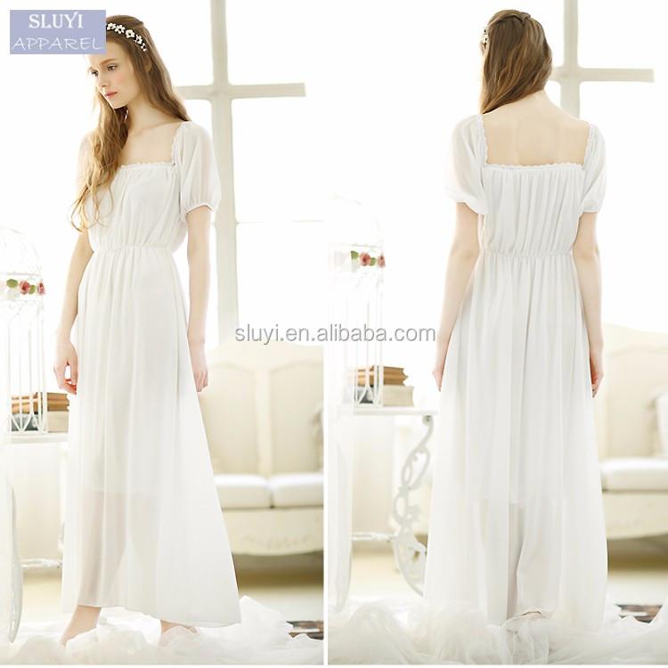 Y Wedding Night Dresses S Loose O Neck Ruffles Short Sleeve Lining Elastic Waist Women
