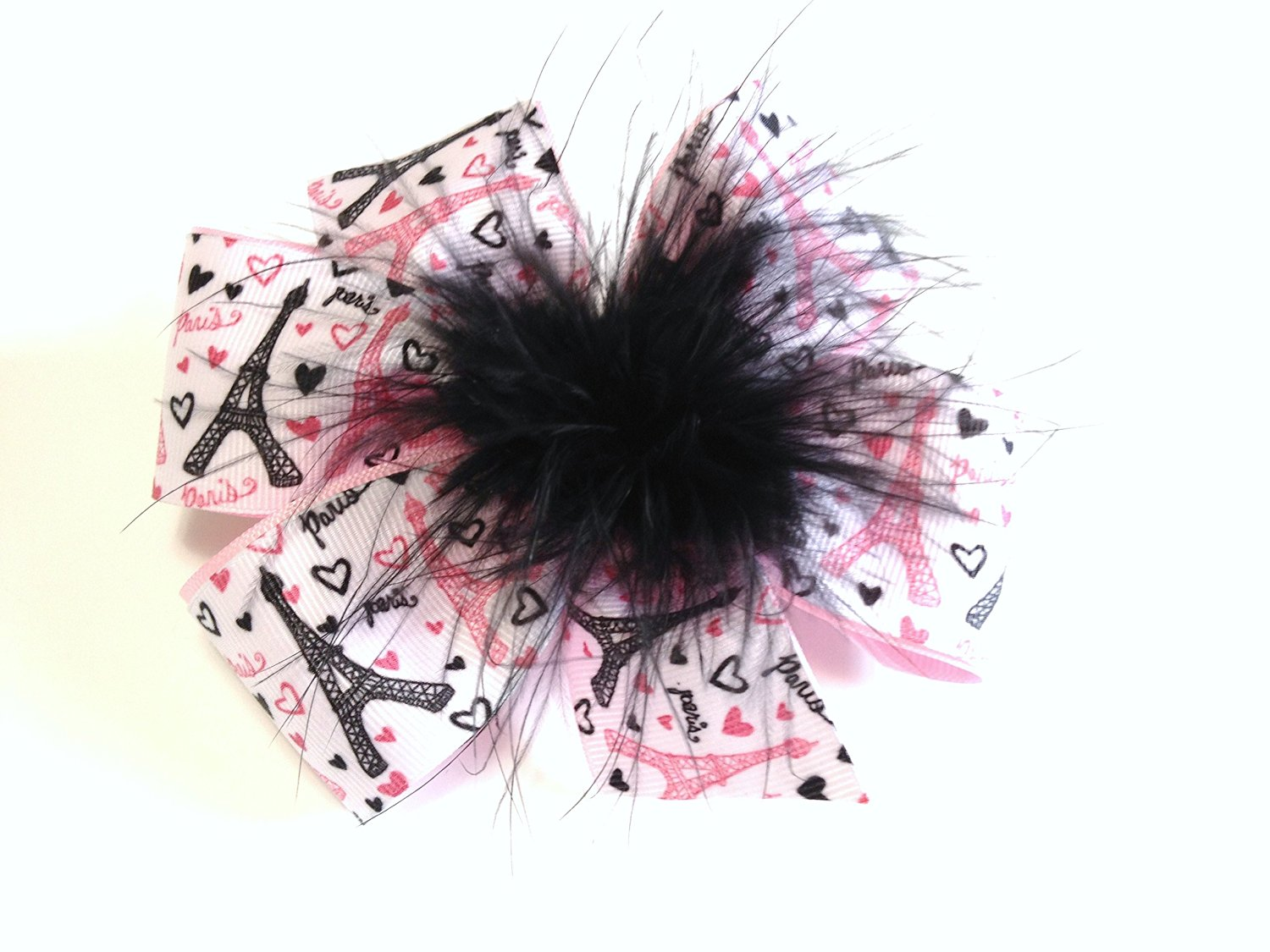b5291d33cd Get Quotations · Girls Paris Eiffel Tower Hair Bow with Feather Teen Hair  Accessory Pink Princess Hair Bow