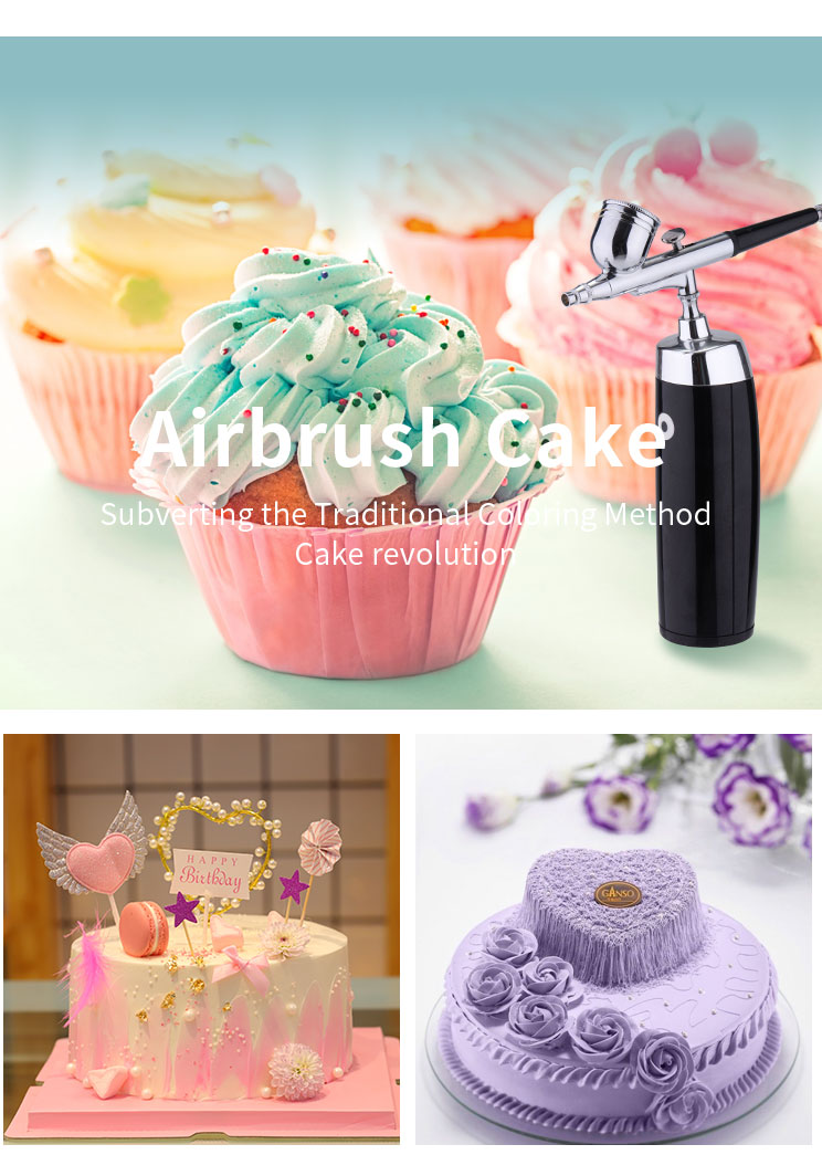 HS-386K airbrush kit air compressor cake decorating tools set for bakery
