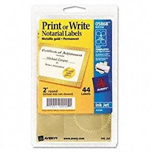 """Avery® 39000104 Print or Write Gold Foil Notarial Seals SEAL,2""""DIA GD,44/PK"""