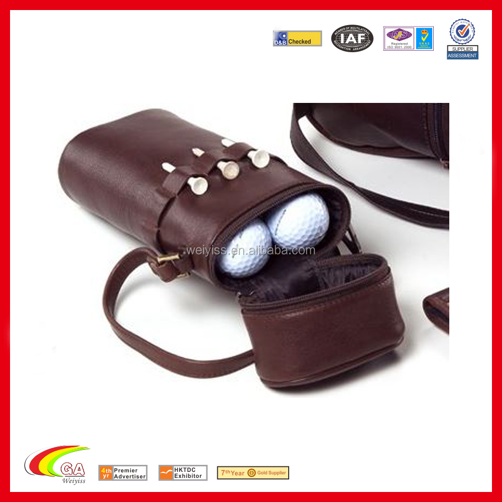 Fashion Design Golf Sport Equipment Organizer Leather Golf Ball Carrier Bag