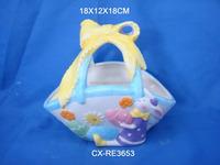 Unique glazed ceramic egg basket