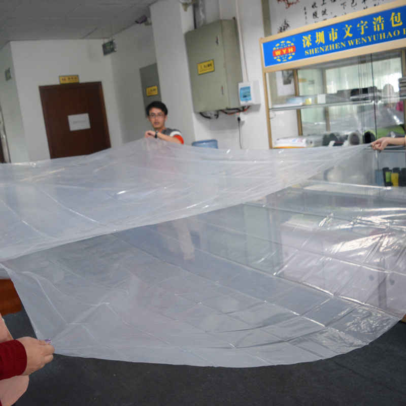 Big clear PE handle flat plastic bag for bedding factory wholesale price