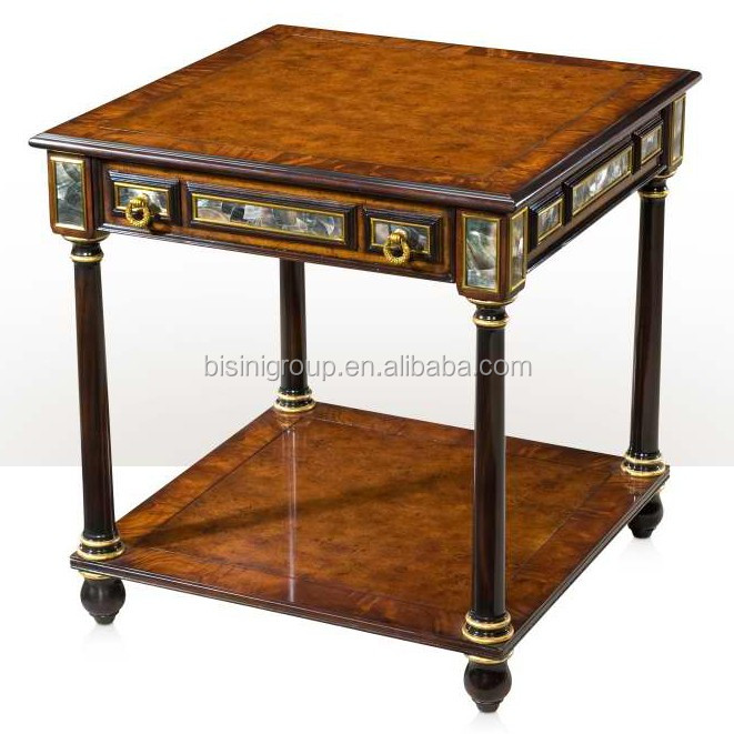 Royal Victorian Accent Table Finished by Inlaid Veneer and Golden Highlight BF11-12222b
