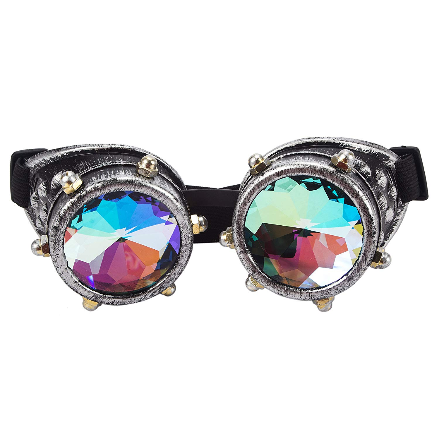 HIOFFER Kaleidoscope Goggles Glasses - Steampunk Rave Diffraction Glasses With Rainbow Crystal Prism